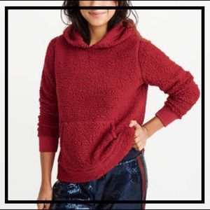 🆕 ABERCROMBIE & FITCH Comfy Red Sherpa Hoodie